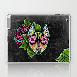 Min Pin Day of the Dead Miniature Doberman Pinscher Sugar Skull Dog Laptop & iPad Skin