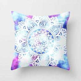 Purple and Blue Tied-Dye Mandala - LaurensColour Throw Pillow