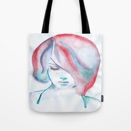 Red Haired Girl Watercolor Tote Bag