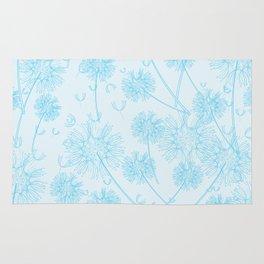 Dandelion Plants, Flower Heads - Pale Blue Rug