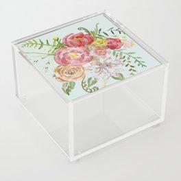 Bouquet of Spring Flowers Light Aqua Acrylic Box