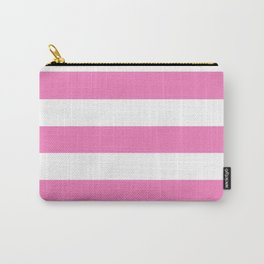Persian pink -  solid color - white stripes pattern Carry-All Pouch