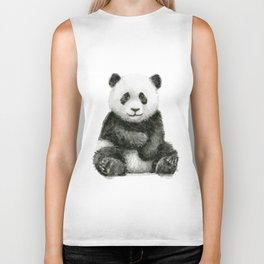 Panda Baby Watercolor Animal Art Biker Tank