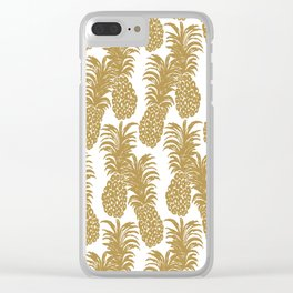 Gold Pineapples Clear iPhone Case