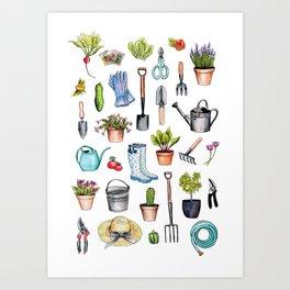 Garden Gear - Spring Gardening Pattern w/ Garden Tools & Supplies Art Print