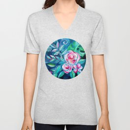 Tropical Camellia Extravaganza - oil on canvas Unisex V-Neck