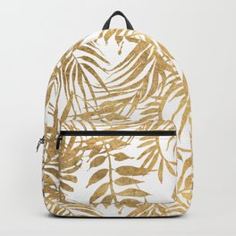 Elegant tropical gold white palm tree leaves floral Backpack
