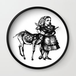 Alice and the Fawn in Black Wall Clock