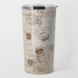 Old Letters Vintage Collage Travel Mug