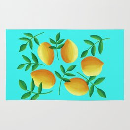 Lemons on Teal Rug
