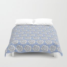 Background abstract white doodle-flowers, pattern, vector, texture design. Duvet Cover