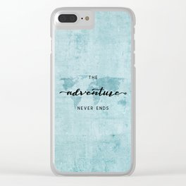 The Adventure Never Ends - Turquoise Map Clear iPhone Case