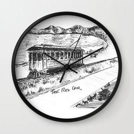 Redondo Beach Ca, Red Car  Wall Clock