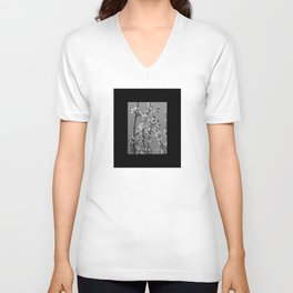 Tree Blossoms in Black and White Unisex V-Neck