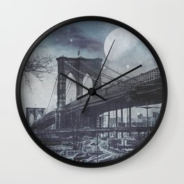 Full Moon over Brooklyn Bridge Wall Clock