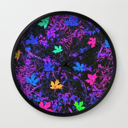 colorful maple leaf with purple and blue creepers plants background Wall Clock
