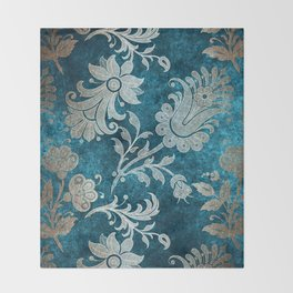 Aqua Teal Vintage Floral Damask Pattern Throw Blanket