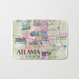Atlanta Favorite Map with touristic Top Ten Highlights in Colorful Retro Style Bath Mat