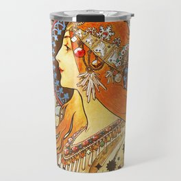 Alphonse Mucha La Plume Zodiac Travel Mug