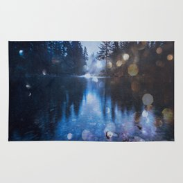 Magical Blue Forest Water Reflection - Nature Photography Rug