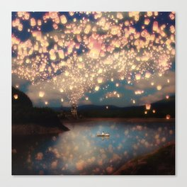 Love Wish Lanterns Leinwanddruck
