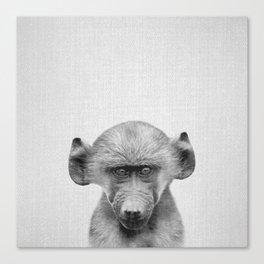 Baby Baboon - Black & White Canvas Print