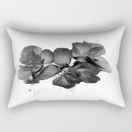 Black Geranium in White Rectangular Pillow
