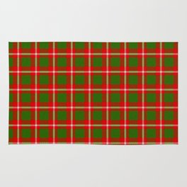 Tartan Style Green and Red Plaid Rug