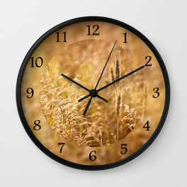 Golden cereal plant photo Wall Clock