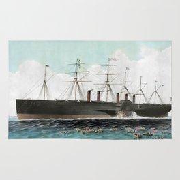 Vintage SS Great Eastern Steamboat Painting (1858) Rug