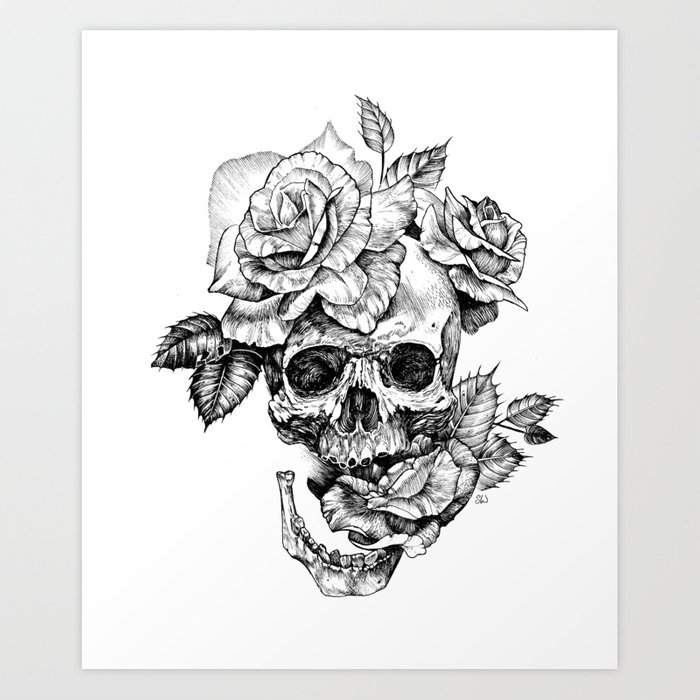 black and white skull with roses pen drawing art print by sarachnid
