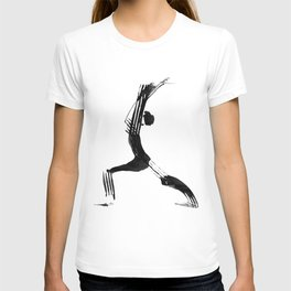 Moder black and white, minimalist ink figure yoga drawing, yoga illustration, yoga pose, yoga art T-shirt