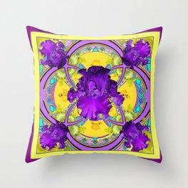 Dark Purple Iris Yellow-purple Geometric Art Throw Pillow