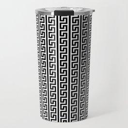 Greek Key Full - White and Black Travel Mug