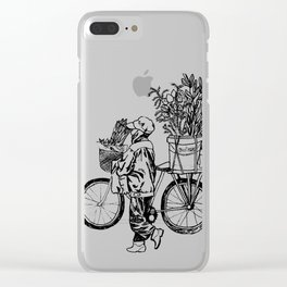 Bicycle Flower Seller in Hanoi in Pencil Clear iPhone Case