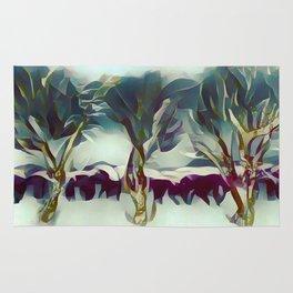 3 Winter Trees Deep Maroon Purple by CheyAnne Sexton Rug