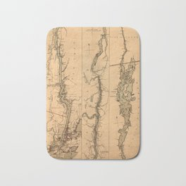 Map Of The Hudson River 1777 Bath Mat