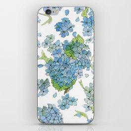 Blue Hydrangea Watercolor iPhone Skin