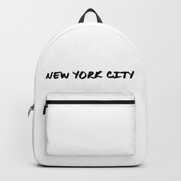 'New York City' NYC Hand Letter Type Word Black & White Backpack