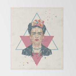 Pastel Frida - Geometric Portrait with Triangles Throw Blanket