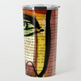 """Funky Face Abstract, """"I See 35"""" by Kathy morton Stanion Travel Mug"""