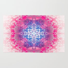 Pink Four Pointed Star Mandala Rug