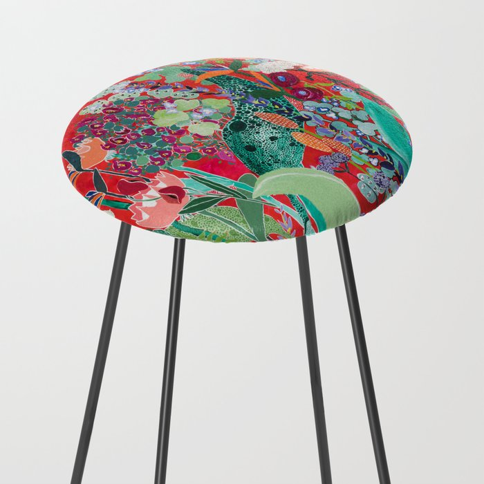 Red floral Jungle Garden Botanical featuring Proteas, Reeds, Eucalyptus, Ferns and Birds of Paradise Counter Stool