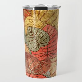 Leaves in Rosy Background 4 Travel Mug