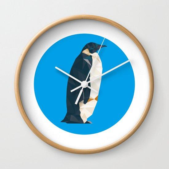 cyan penguin Wall Clock