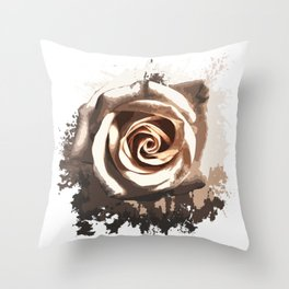 White Rose Splatter Throw Pillow