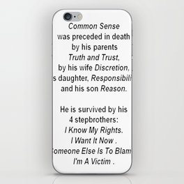 The Death of Common Sense iPhone Skin