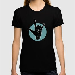 ILY - I Love You - Sign Language - Black on Green Blue 00 T-Shirt