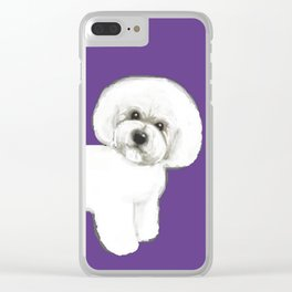 Bichon Frise dog on Ultraviolet, 2018 Bichon , Year of the dog, Pantone Ultraviolet Clear iPhone Case