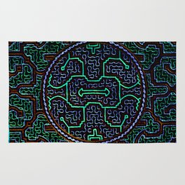 Song to protect the home - Traditional Shipibo Art - Indigenous Ayahuasca Patterns Rug
